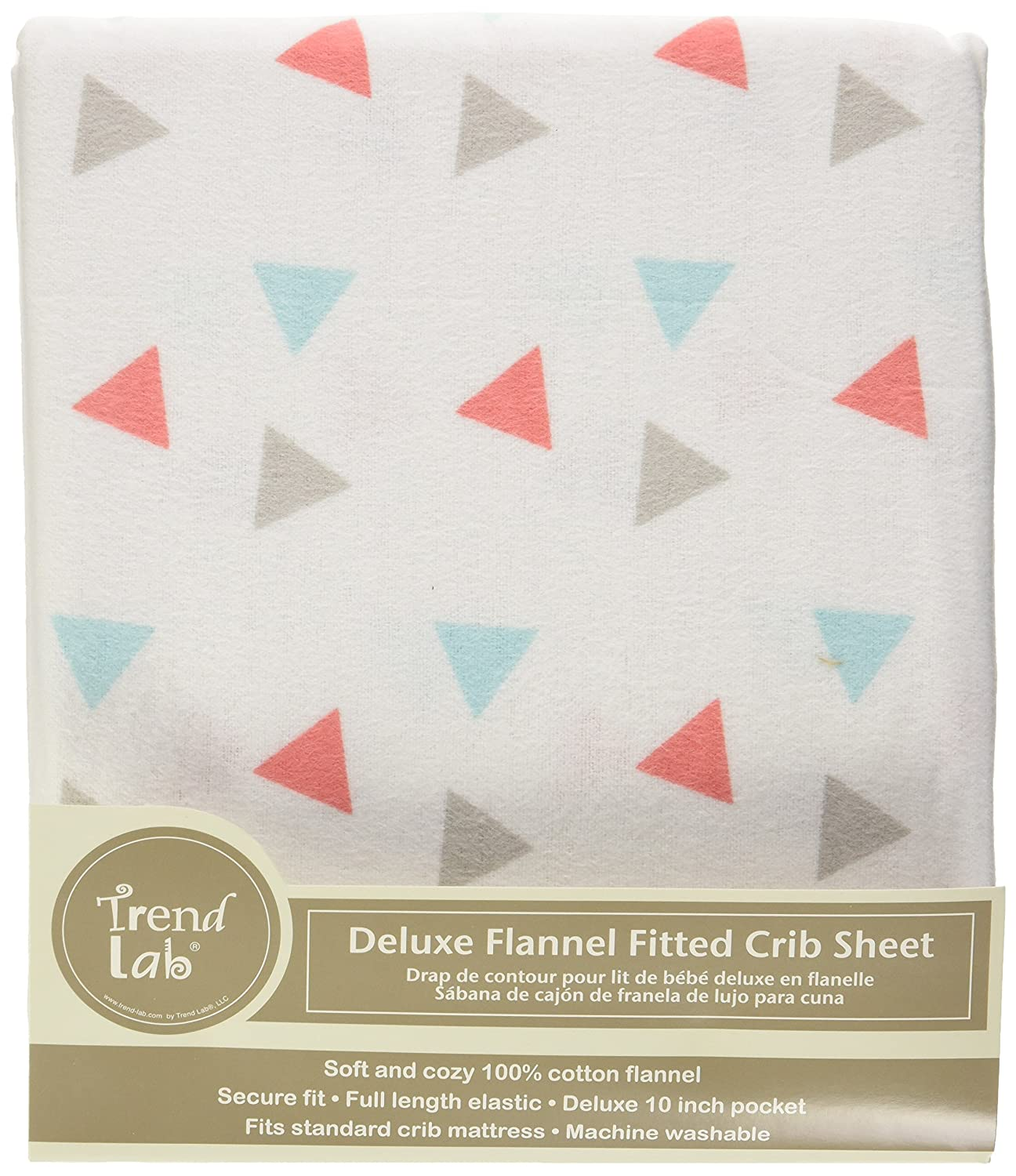 Amazon.com : Trend Lab Coral Triangles Deluxe Flannel Fitted Crib Sheet : Baby