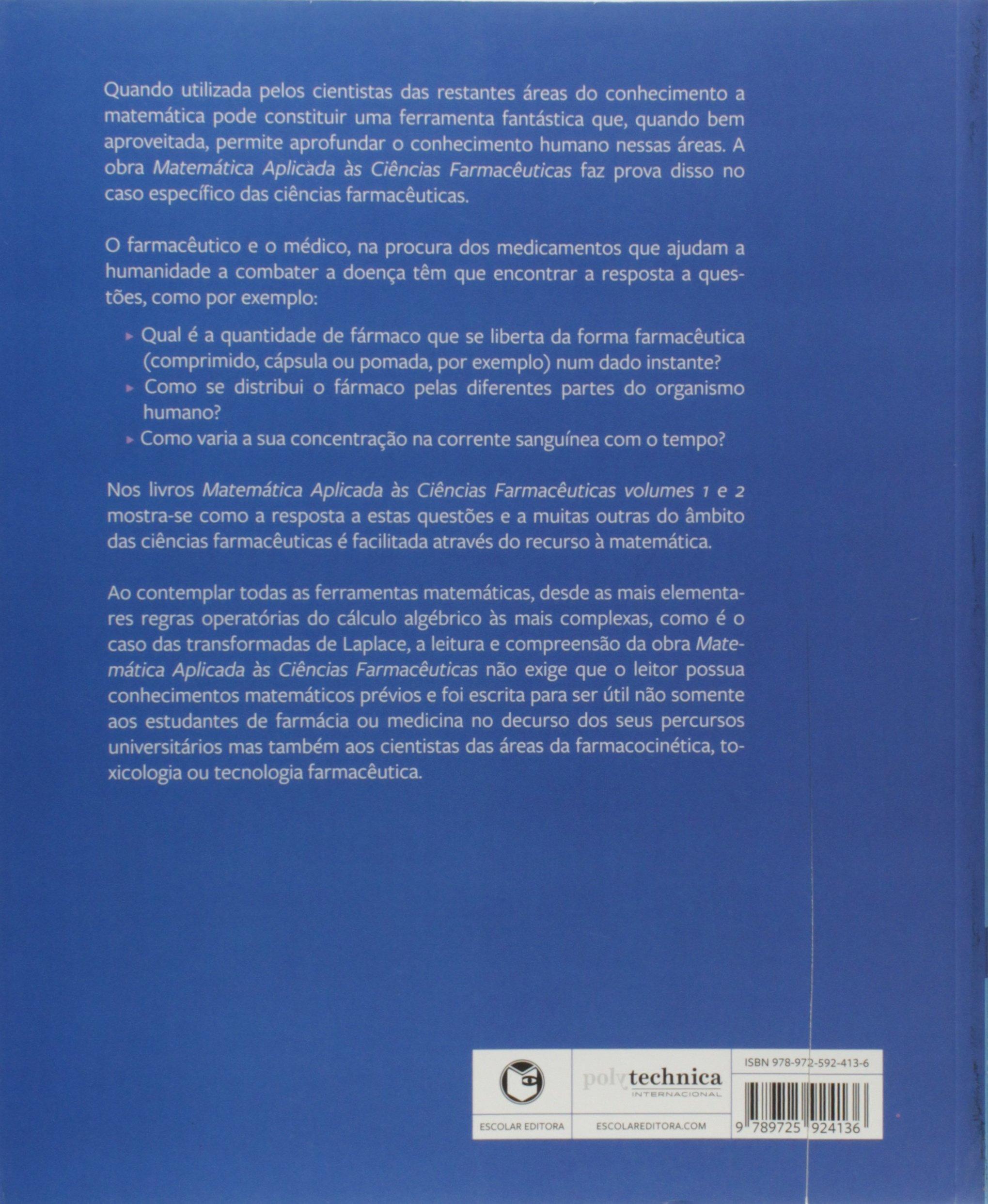 Matemática Aplicada às Ciências Farmacêuticas com Excel Volume II ...