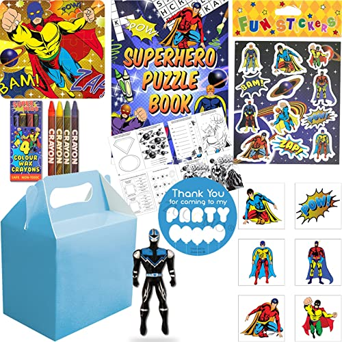 Boys Luxury Superhero Filled Blue Party Bags Boxes Birthday Wedding Favours Gifts For Children