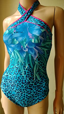 1c7f750471338 Gottex Swimsuit, Tiger Lily, Blue, Leopard Print 13TI-056R (10 UK):  Amazon.co.uk: Clothing