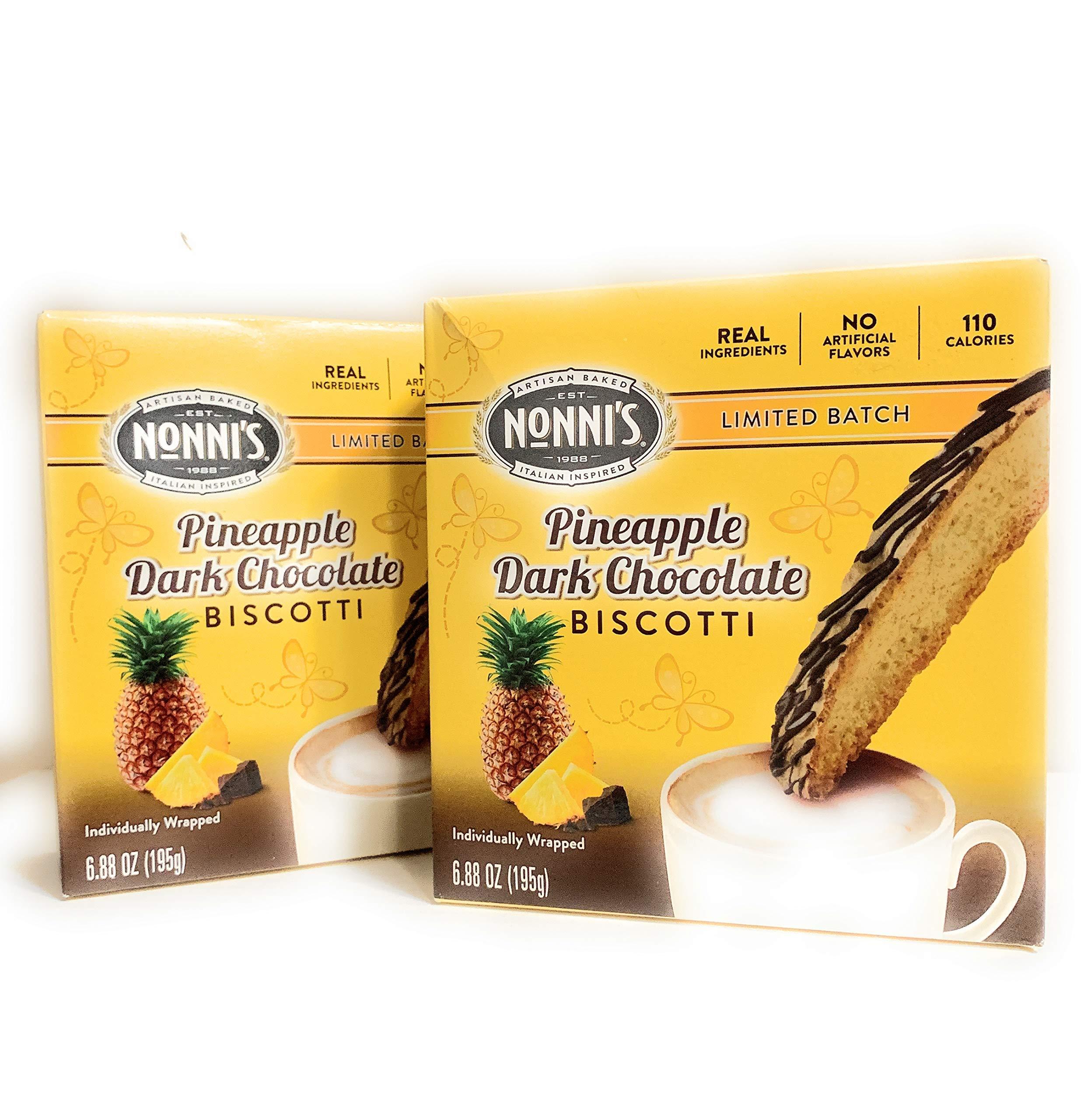 Limited Batch - Nonni's Pineapple Dark Chocolate Biscotti 2 pack 6.88 oz each box by Nonni's