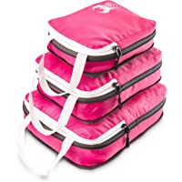 Pink Luggage Travel Organizers with Compression Zipper - 3 Piece Set