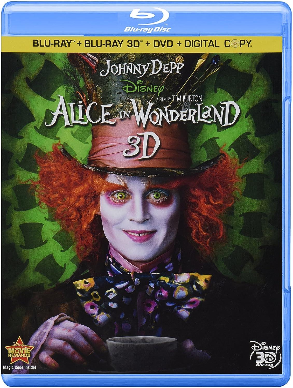 Alice In Wonderland Four Disc Combo Blu Ray 3d Blu Ray Dvd Digital Copy Johnny Depp Mia Wasikowska Anne Hathaway Helena Bonham Carter Crispin Glover Matt Lucas Alan Rickman Stephen Fry