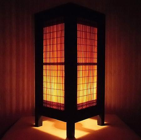 Thai vintage handmade asian oriental classic brown bamboo lighting thai vintage handmade asian oriental classic brown bamboo lighting art bedside table light or floor wood aloadofball Image collections