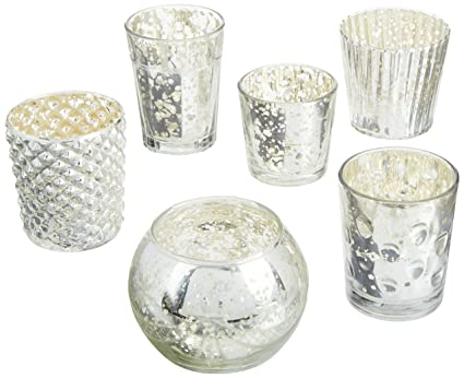 2142286ad2 Luna Bazaar Best of Vintage Mercury Glass Candle Holders (Silver, Set of 6)