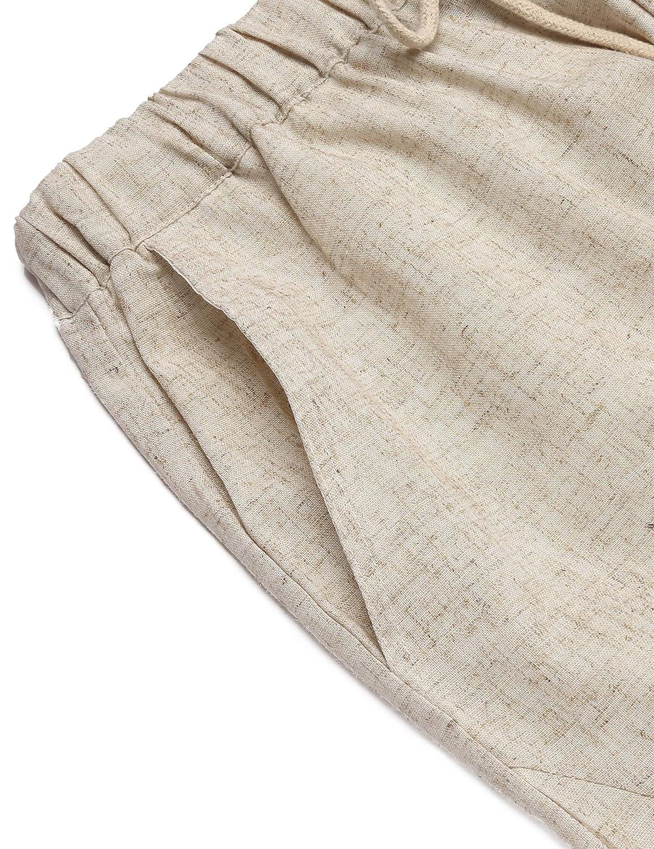 COOFANDY Mens Linen Cotton Loose Casual Lightweight Elastic Waist Straight Pants