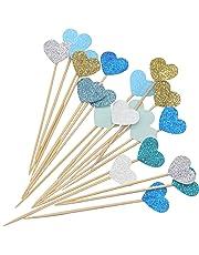 PuTwo 21 Cuenta 7 Colores Corazón para Cecoración de Tartas Fiesta Suministros Cupcake Toppers – Corazón Azul