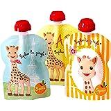SQUIZ – lot de 3 gourdes réutilisables Sophie la Girafe 90ml – FABRICATION SUISSE