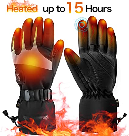 Battery Powered Electric Heated Motorcycle Gloves Touchscreen Enabled Skiing,Hiking Windproof winna Heated Gloves for Women and Men