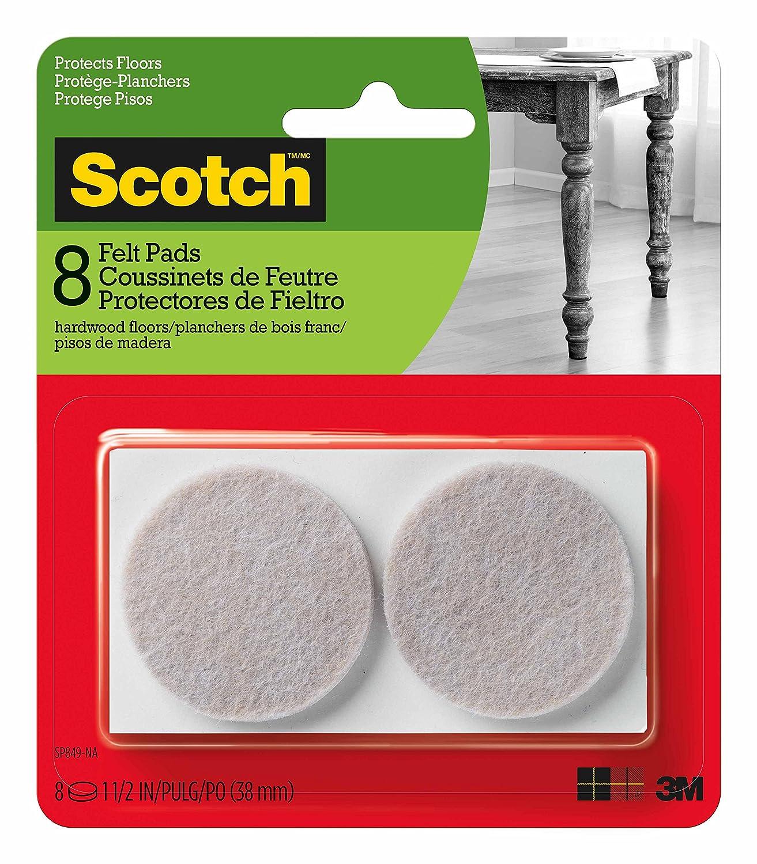 Scotch Felt Pads Round Beige 1 5 inch Diameter 8 Pads Pack 6