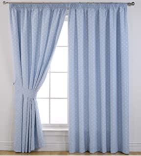 Curtains Ideas curtains 54 x 72 : Dotty Printed Thermal Self Lined Blackout Pencil Pleat Readymade ...
