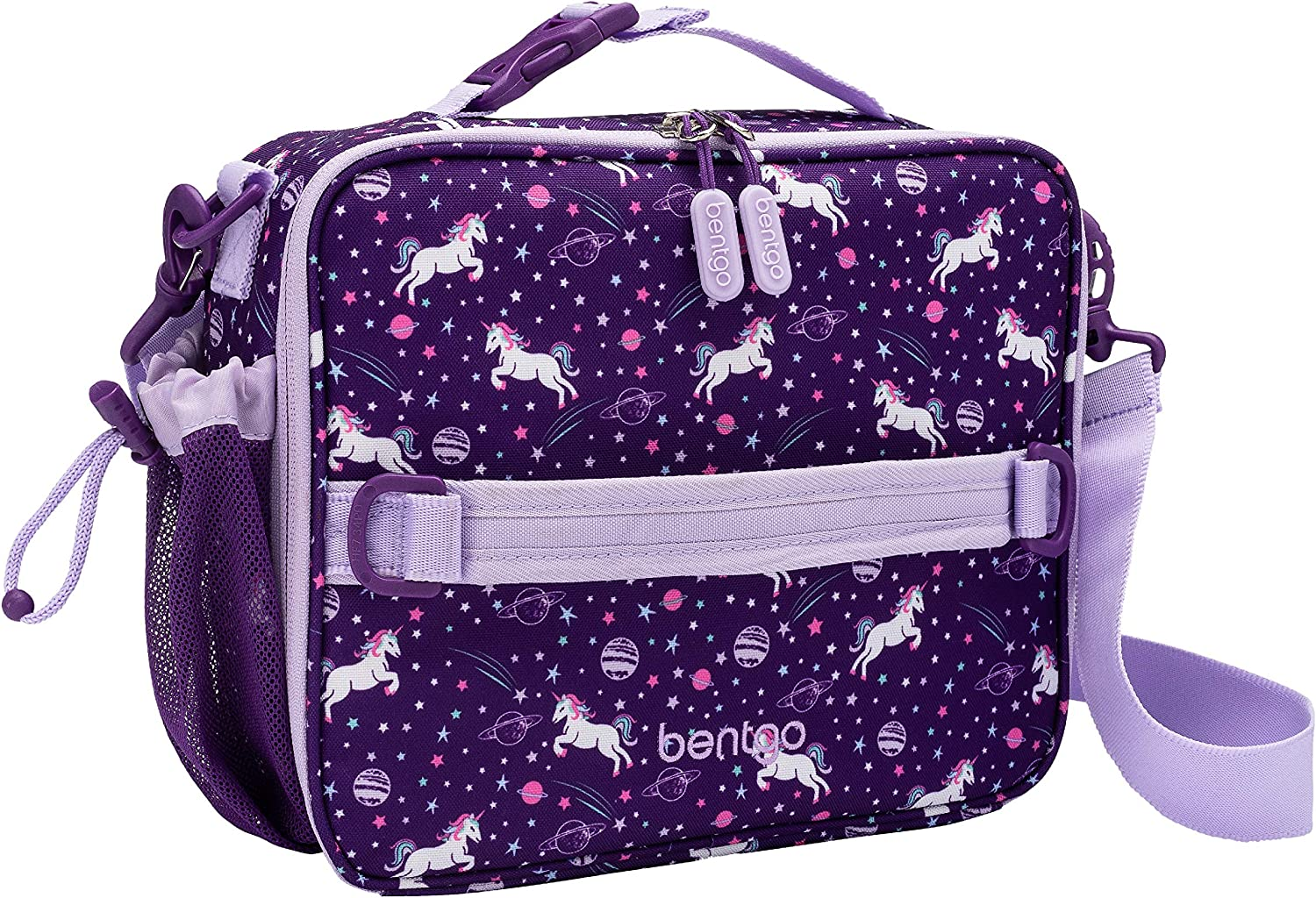 Bentgo Kids Prints Lunch Bag - Double Insulated, Durable, Water-Resistant Fabric with Interior and Exterior Zippered Pockets and External Bottle Holder- Ideal for Children of All Ages (Unicorn)