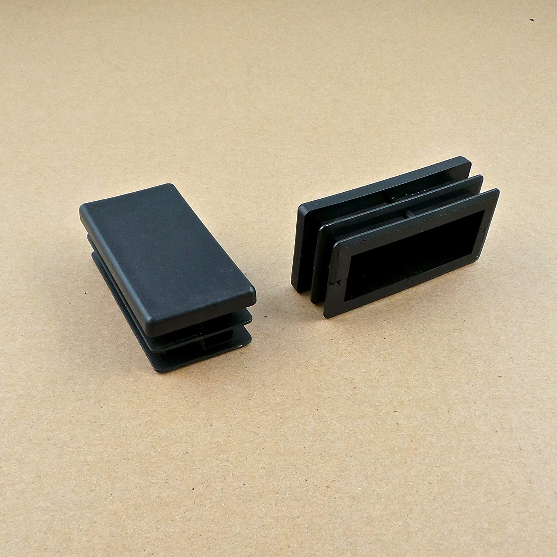 ajile EPG180 NEGRO Contera acanalada para tubo rectangular 80 x 40 mm 4 piezas