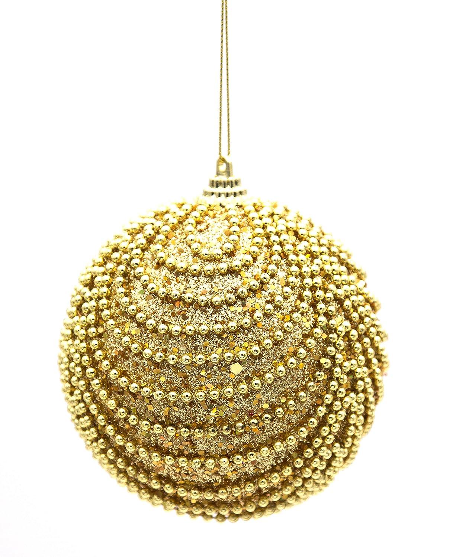 B&P Italia Set da 6 Pendenti a Sfera con Perline, Oro, 10 cm D2574816