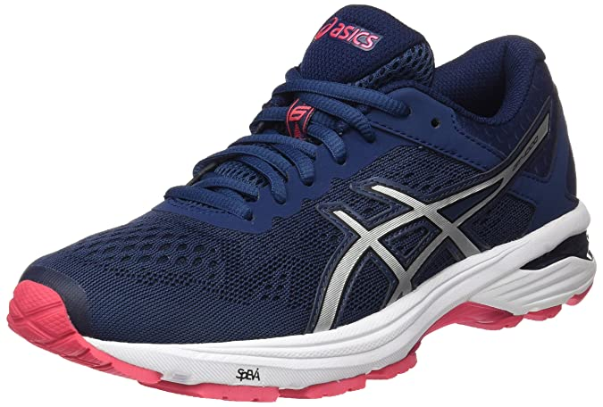 Amazon.com | ASICS GT-1000 6 Womens Running Trainers T7A9N Sneakers Shoes (UK 6 US 8 EU 39.5, Blue Silver red 5093) | Road Running