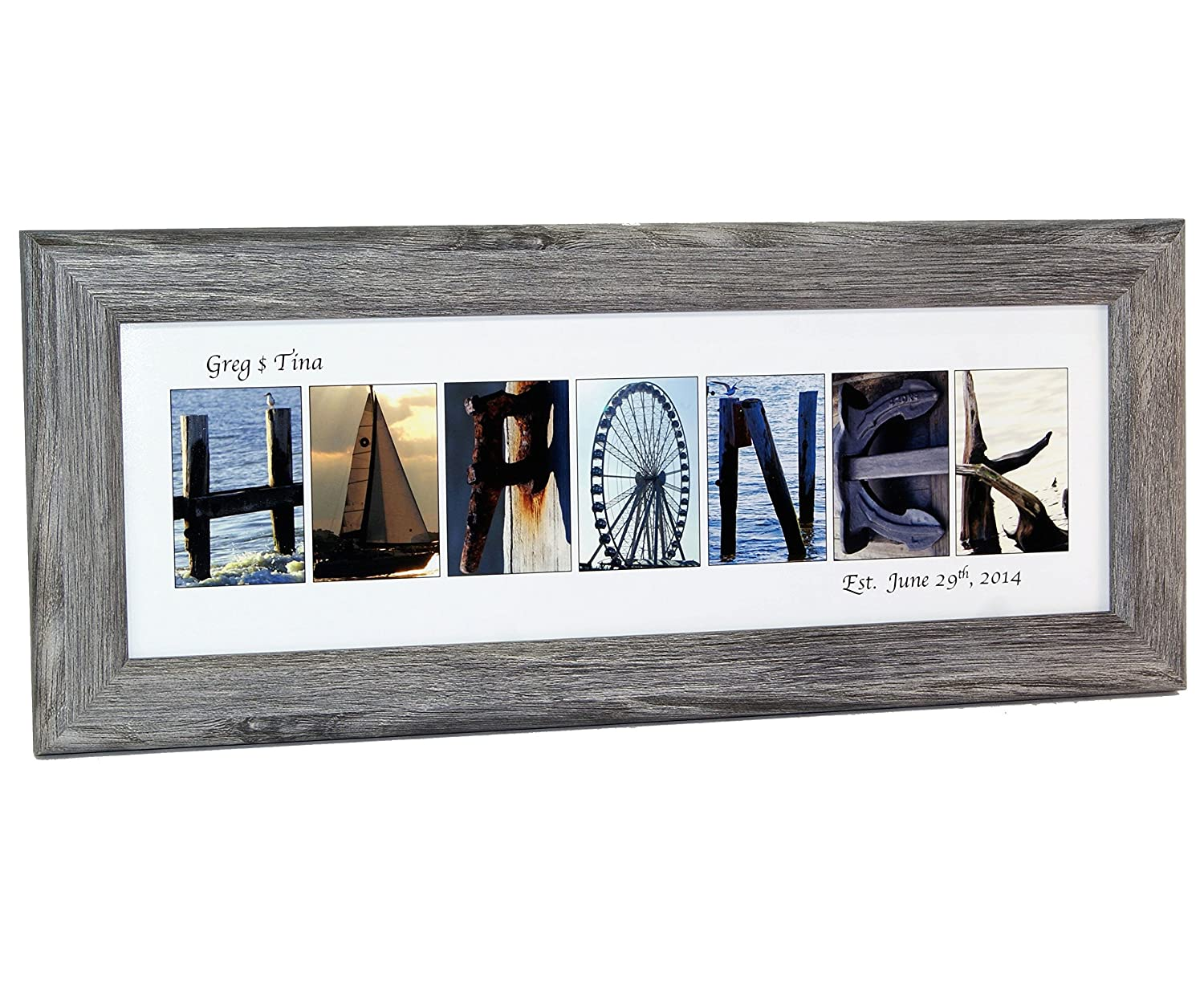 art personalized 12 by 26 inch framed name sign with beach and nautical related alphabet photographs including self standing frame posters prints - Driftwood Picture Frame