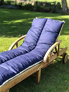 Sunlounger Cushion 200x60x5cm Garden UV Resistant Steamer Recliner Pad Dark Blue