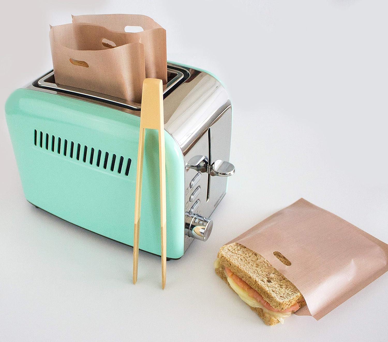 WolinTek Tostapane Sacchetti,Confezione da 10 Riutilizzabile Tostapane a Base di Panini Spuntini Non Bastoni Resistente al Calore Borse per Sandwich Pane Pizza ect