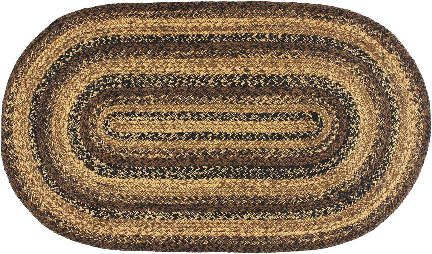 IHF Home Decor Braided Area Rug Cappuccino Design | Oval Area Carpet | Jute Natural Fiber Living Room Bedroom Porch Durable Floor Mat - 6' x 9'