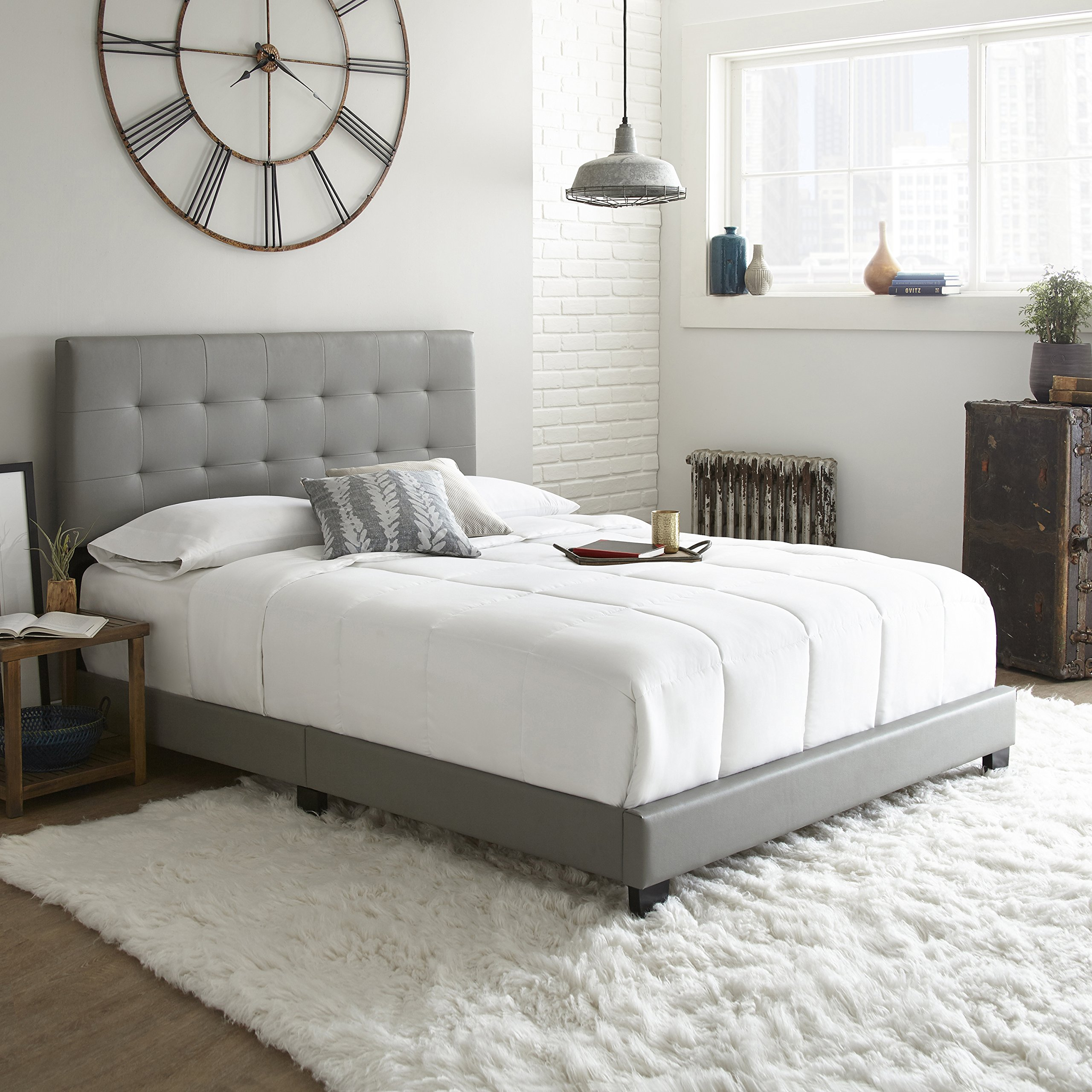 Flex Form Murphy Upholstered Platform Bed Frame with Tufted Headboard: Faux Leather, Grey, Queen by Flex Form (Image #2)