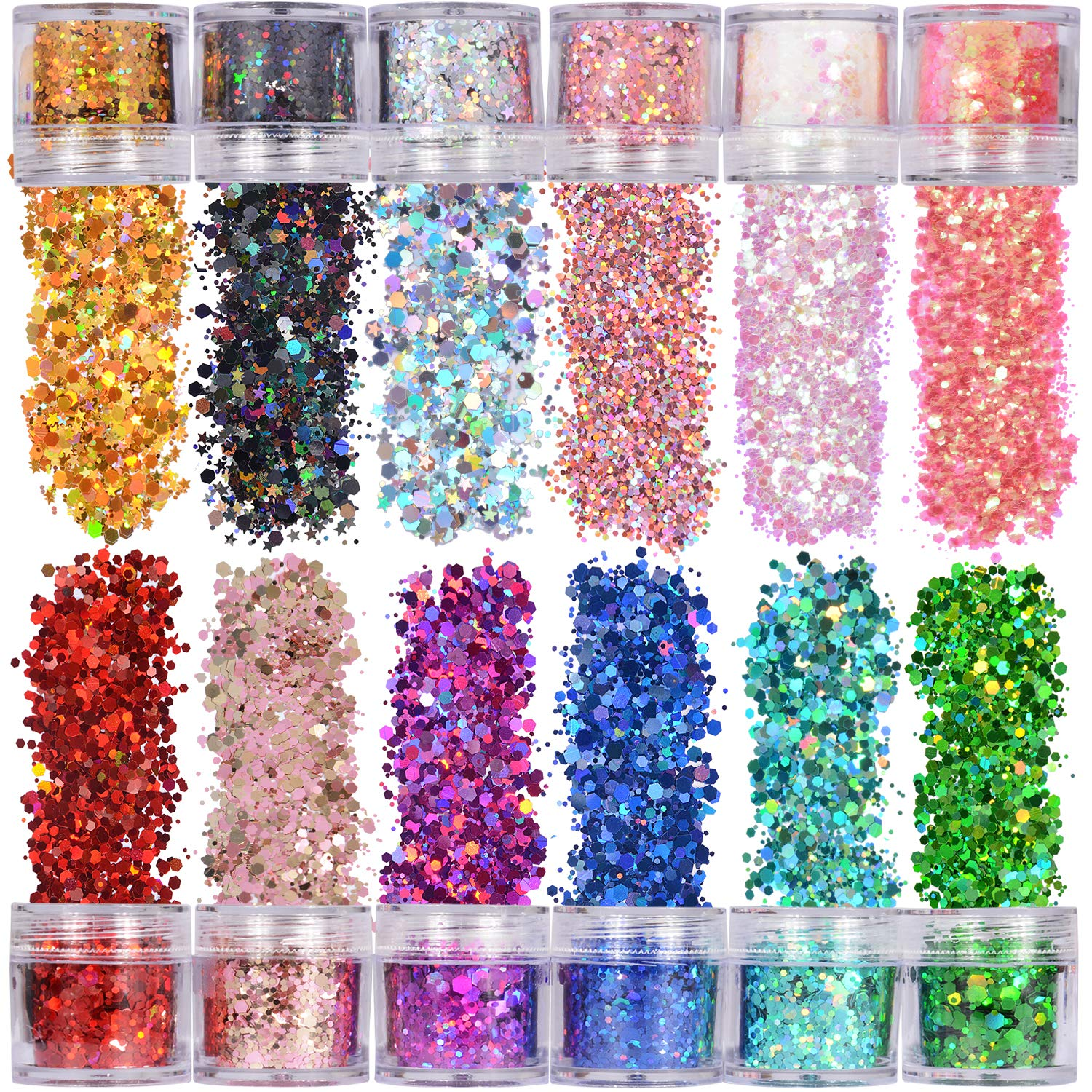 Warmfits Holographic Chunky Glitter 12 Colors Total 120g Face Body Eye Hair Nail Festival Chunky Holographic Glitter Different Size, Stars and Hexagons Shaped (Set A)