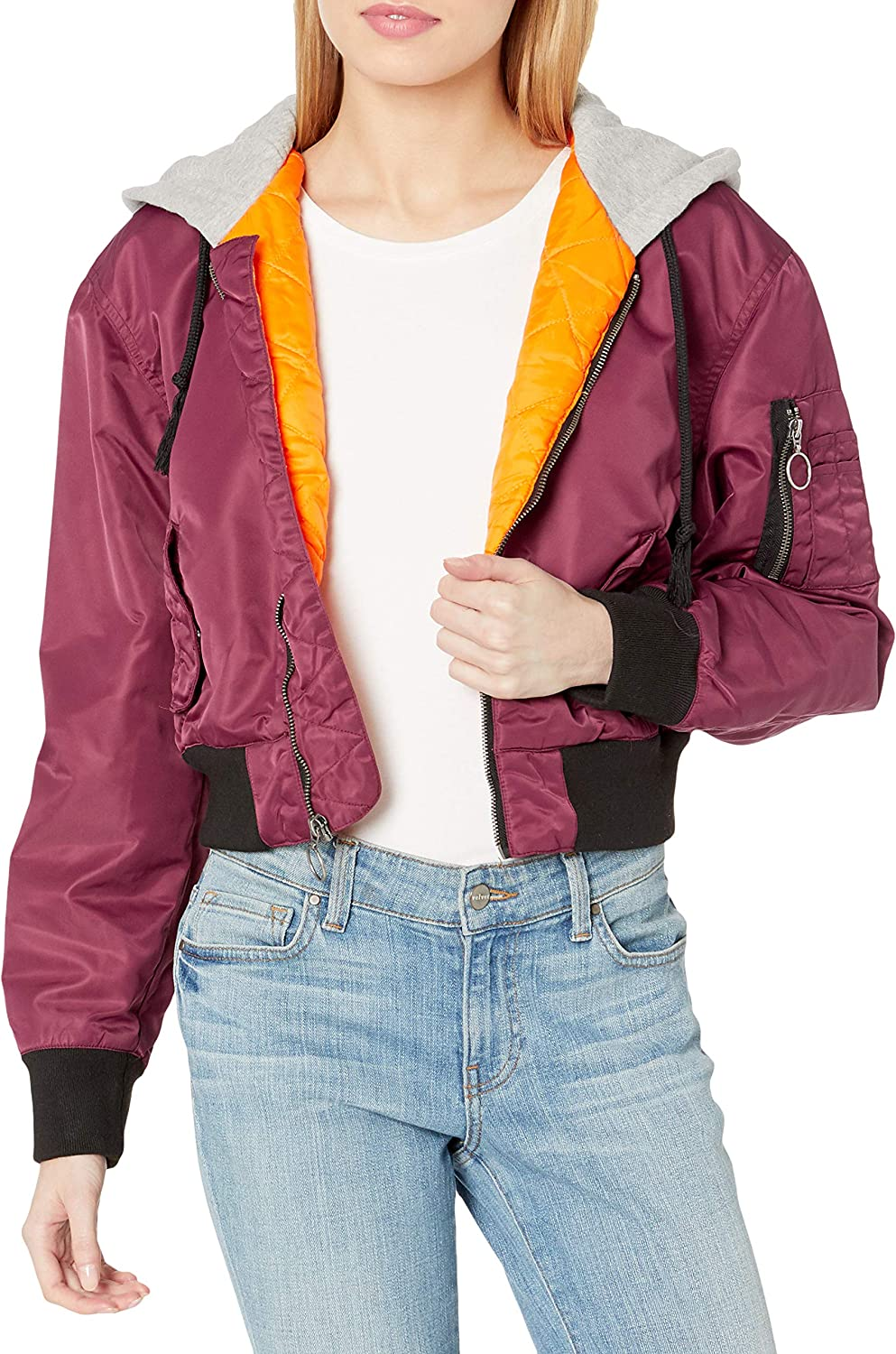 Hudson Jeans Women's Rogue Cropped Bomber with Hood