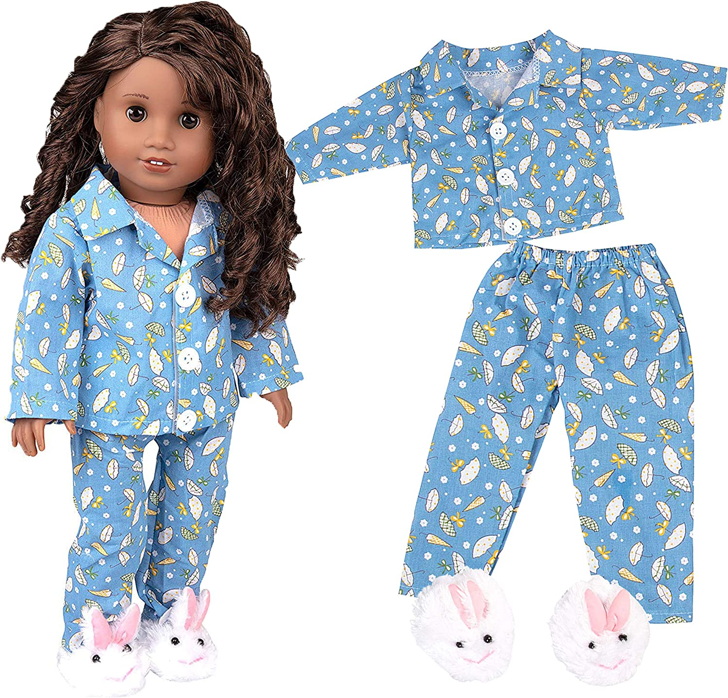 Handmade Doll Clothes Pajamas Top and Pants fit 18 American Girl or Boy Dolls Christmas