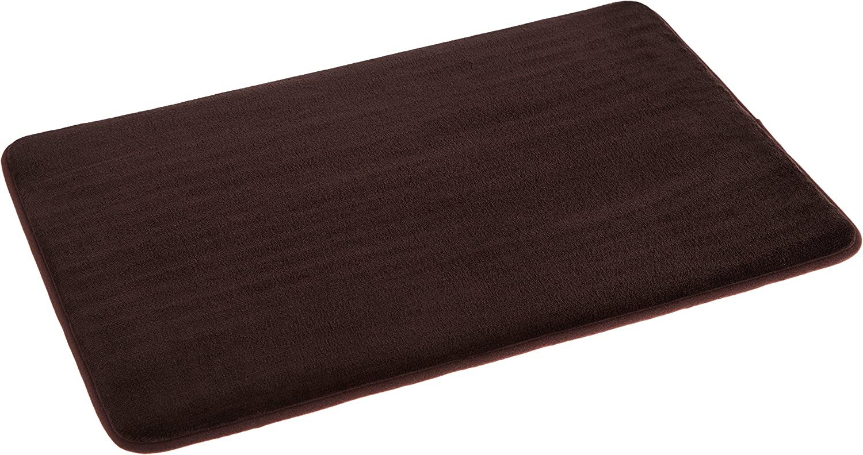 AmazonBasics Non-Slip Memory Foam Bath Mat - Pack of 4, 18 x 28 Inches, Dark Brown