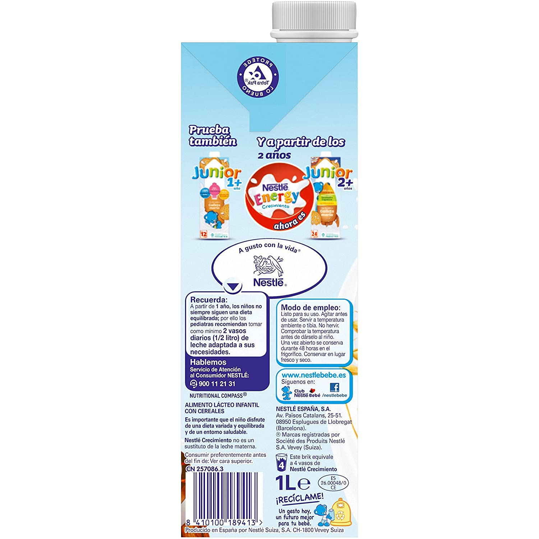 Nestlé Junior 1+ Cereales - Leche para niños a partir de 1 año - 6x1L, sin aceite de palma: Amazon.es: Alimentación y bebidas