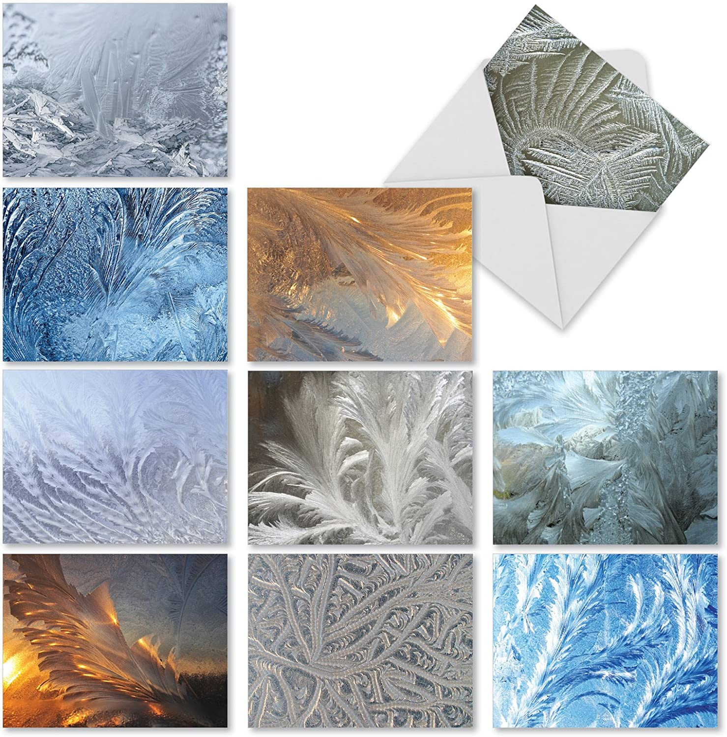 10 'Ice Feathers' Blank Note Cards with Envelopes 4 x 5.12 inch, Boxed Greeting Cards w/Stunning Ice formation Close Ups, Assorted Stationery for Christmas, New Year, Holidays, Winter M3283
