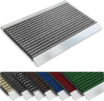casa pura tapis brosse interieur exterieur antisalissure antipoussiere nylon aluminium inoxydable coloris et tailles au choix gris 50x80cm