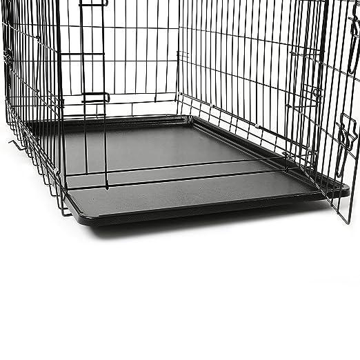 TRESKO® Jaula de Transporte Plegable para Perros (L 90 x 60 x 67 cm), Cachorros y Otro Tipo de Mascotas, Jaula de Metal con Bandeja extraíble ...