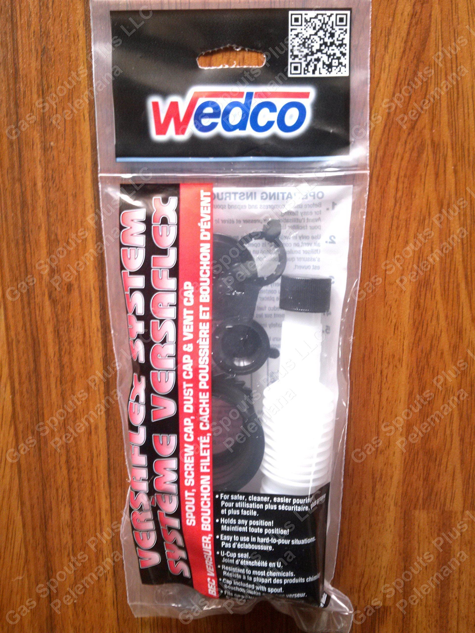 1-Package (ONE) Wedco / Briggs & Stratton Versaflex Gas Spout & Parts System Kit incl Flexible Spout w/Gasket & Spout Cap 84060, Screw Cap Collar 84004CR, Stopper Seal Disc 84002 & Rear Vent Cap 84003