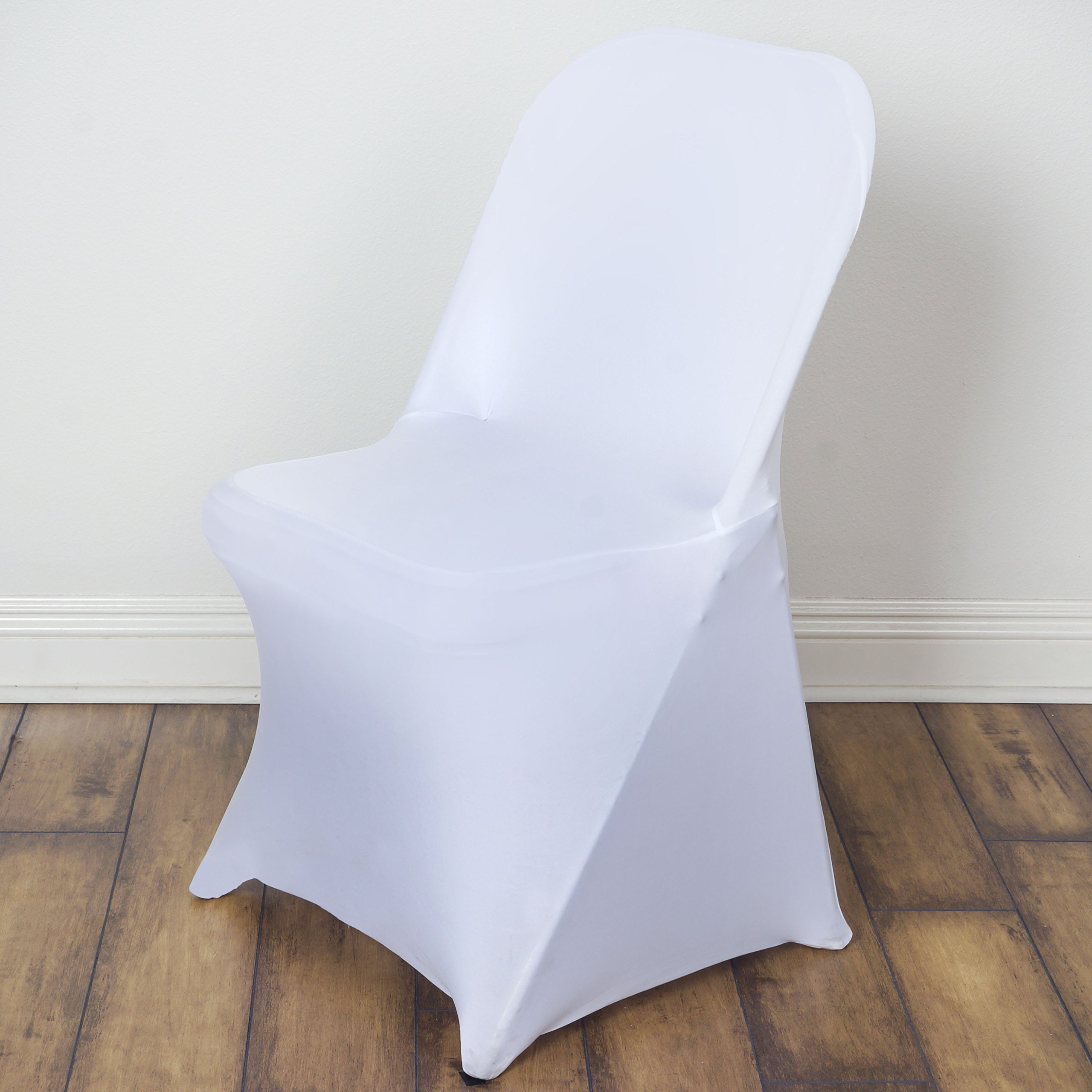BalsaCircle 10 pcs White Spandex Strechable Folding Chair Covers Slipcovers for Wedding Party Reception Decorations