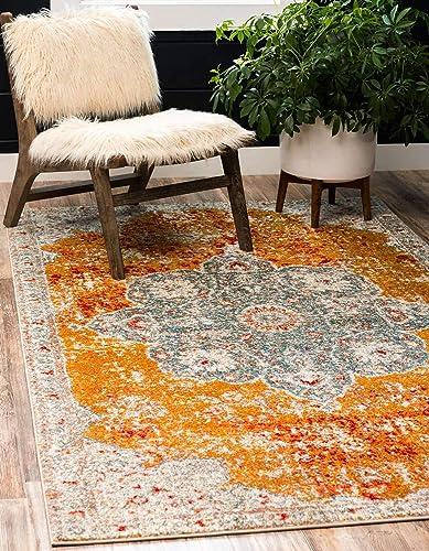 Unique Loom Rosso Collection Vintage Traditional Distressed Orange Area Rug 9' 0 x 12' 0