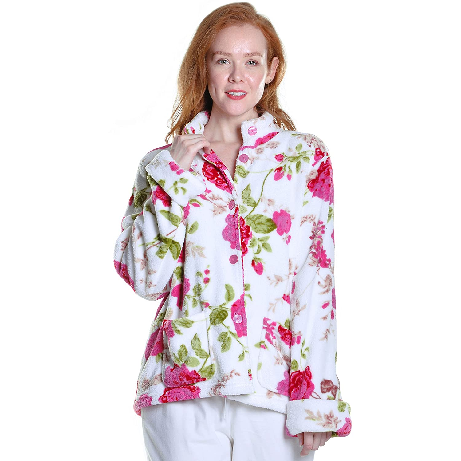 bed potters raspberry women waffle womens slenderella womenswear s of jackets nightwear fleece buxton jacket