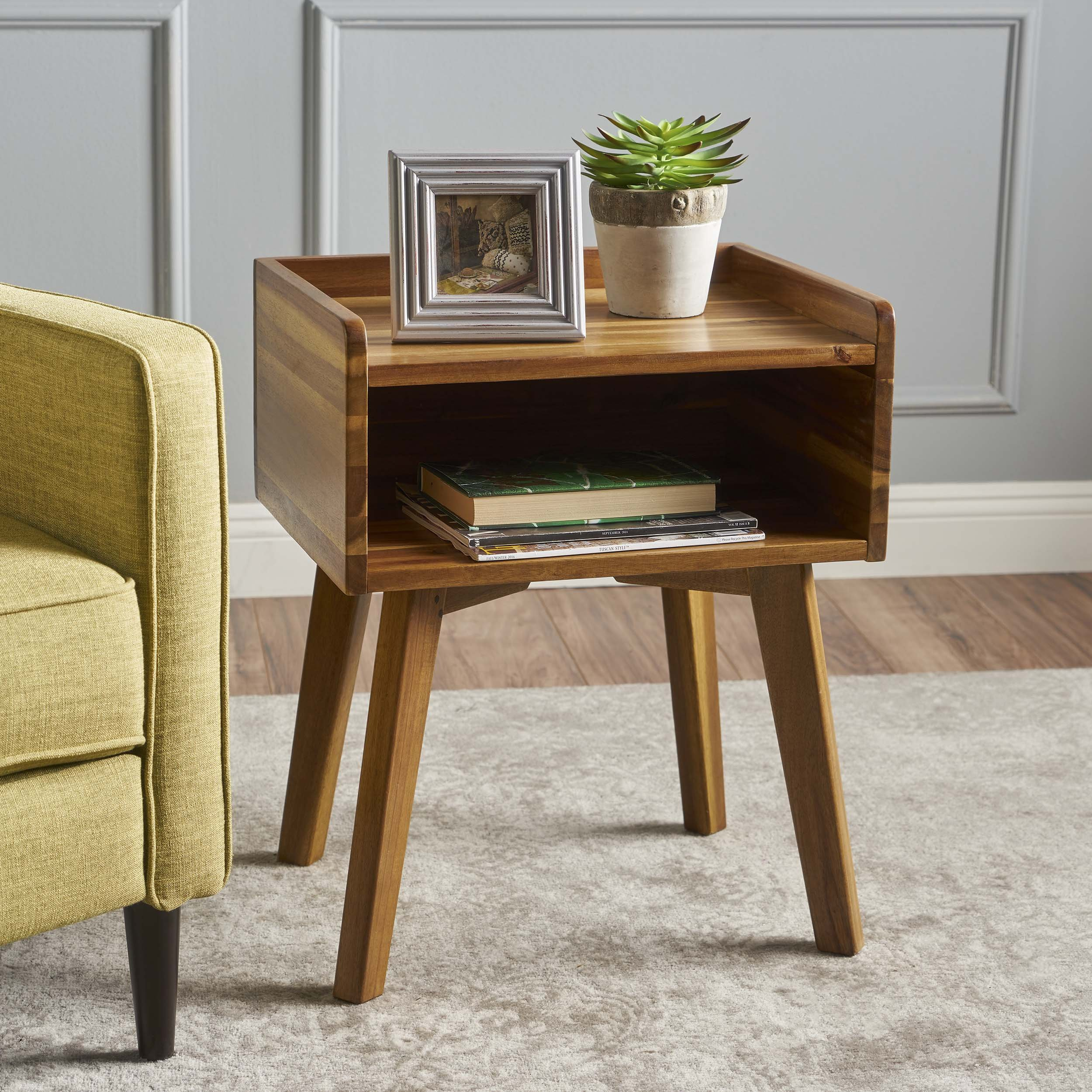 Alanna Natural Stained Acacia Wood Nightstand