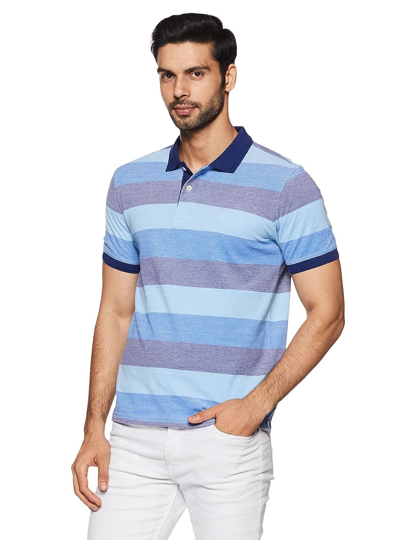 6483e7ad Allen Solly Striped Mens Polo Neck T Shirt
