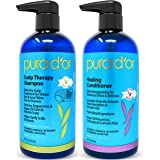 PURA D'OR Scalp Therapy and Healing Scalp Shampoo & Conditioner Set For Dry, Itchy Scalp - Hydrates and Nourishes Hair with T