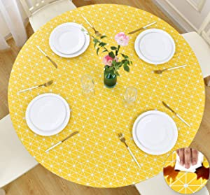 Rally Home Goods Indoor Outdoor Patio Round Fitted Vinyl Tablecloth, Flannel Backed & Elastic Edge, Oil & Waterproof Wipeable, Yellow Checkerboard Pattern for 5-Seat Table of 36-44'' Diameter