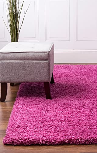 Super Area Rugs Solid Cozy Shag Rug for Kids Room Nursery 5 x 8 , Pink