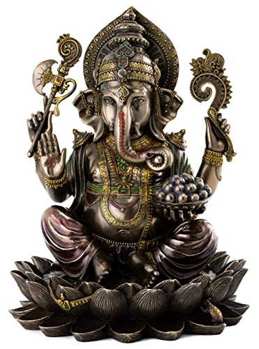 Top Collection Ganesh on Lotus Pedestal Statue – Ganesha Lord of Success and Destroyer of Evil Sculpture in Premium Cold Cast Bronze – 12-Inch Collectible Hindu Elephant Figurine