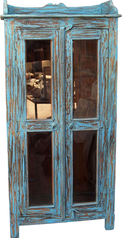 Antikblauer Glastürschrank (JH1-122) / Vitrinen & Glasschränke