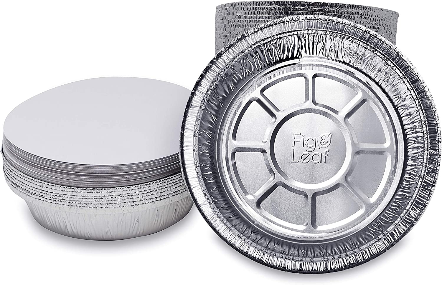 """Fig & Leaf (270 Pack) Premium 9-Inch Round Foil Pans with Board Lids l 2"""" High Walls to Prevent Spills l Heavy Duty 28 Gauge l Disposable Aluminum Tin for Roasting, Baking, or Cooking"""