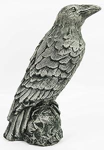 Raven Concrete Halloween Statue Cement Figurine Bird European Cast Stone Sculpture Crow Garden Statue Fowl Sculpture