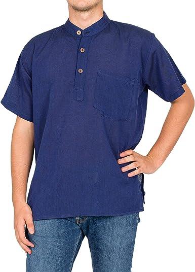 Nepal Shop - Camisa Casual - Manga Corta - Cuello Mao - para Hombre: Amazon.es: Ropa y accesorios