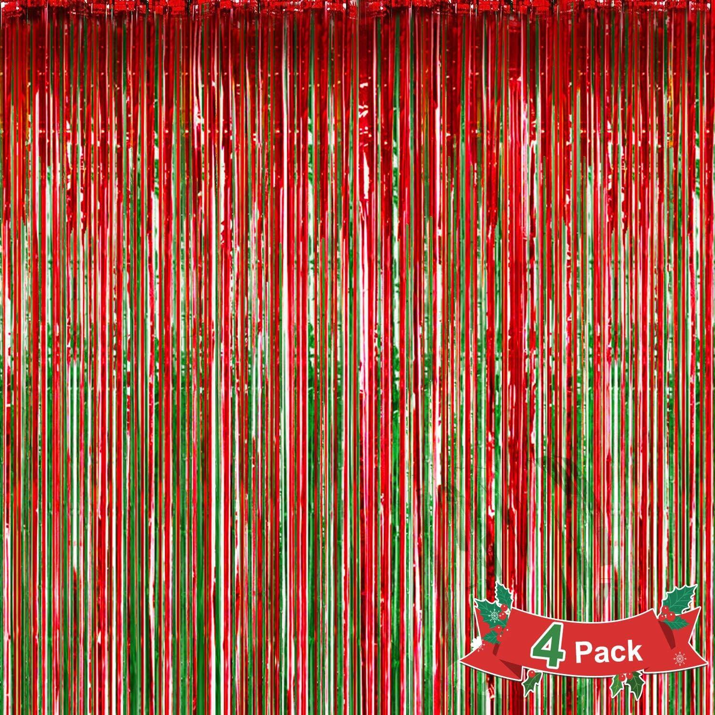 Konsait 4 Stück Folien Fransenvorhänge Weihnachten Foto Hintergrund Rot Und Grün Metallic Schimmer Vorhang Foto Requisiten Hintergrund Für Geburtstagsfeiern Weihnachten Party Dekorationen Küche Haushalt