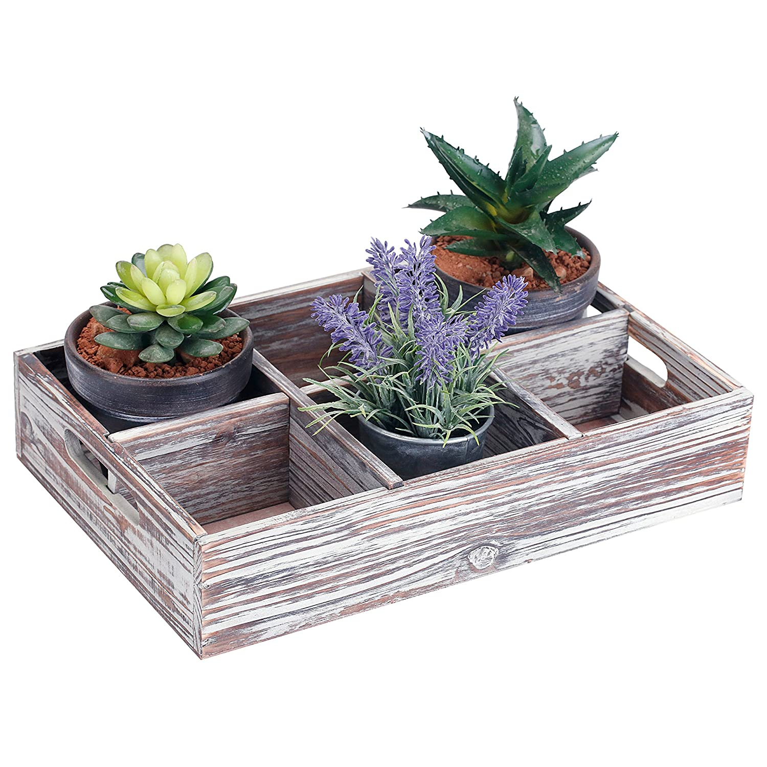 MyGift Rustic 6 Compartment Convertible Wood Serving Tray//Shadow Box with Handles and Removable Divider