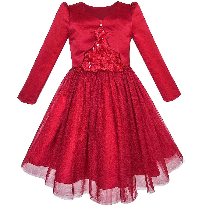 Sunny Fashion 2 Piece Set Flower Girls Dress Long Sleeve Shrug Bolero Size 6-12
