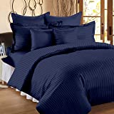 Ahmedabad Cotton 2 Piece 300TC Striped Duvet Cover Set - 60 x 90 inches, Navy Blue